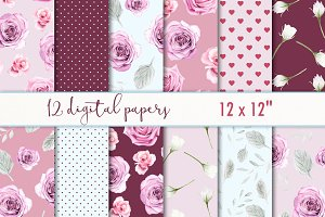"Digital paper ""Roses & burgundy"""