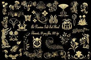 Art Nouveau Gold Foil Florals