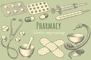 Set Pharmacy. Vector engraving.