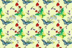 Butterfly flowers pattern (eps,jpeg)