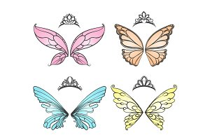 Fairy wings with princess tiara