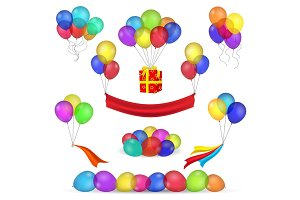 Helium balloons and birthday decoration icons