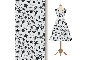 Womens dress fabric pattern with stars