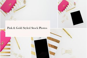 Pink & Gold Styled Stock Photos