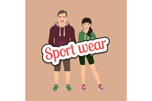 Fashion couple in sport style clothing