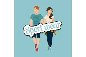 Young beautiful couple in sport style