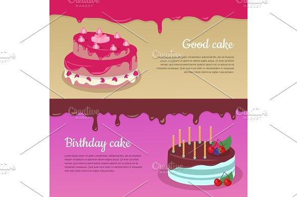 Birthday Cake With Raspberry And Candlesticks Set
