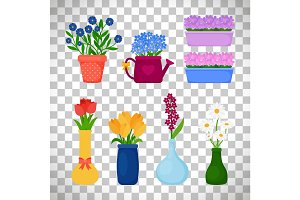 Spring flowers in pots set