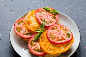 Tomatoes and basil on toast