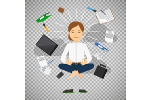 Businesswoman in meditating position