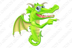 Cartoon Dragon Peeking Round Sign