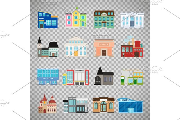 City Buildings Icons On Transparent Background