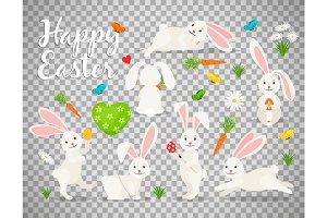 Easter bunny set on transparent background