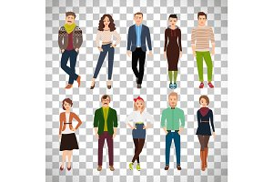 Young fashion people on transparent background