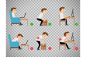 Man sitting and working correct postures