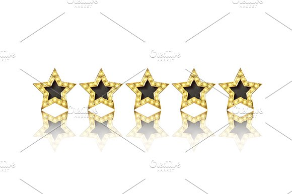 Five gold stars set in Graphics