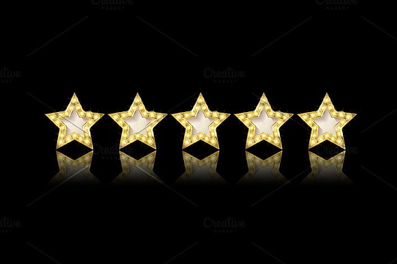Five gold stars set in Graphics - product preview 1