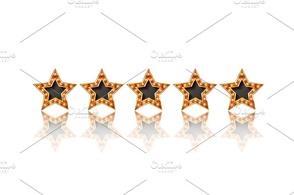 Five gold stars set in Graphics - product preview 2