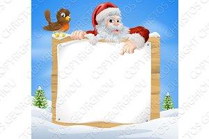 Christmas Snow Scene Santa Sign