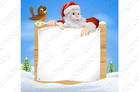 Christmas Snow Scene Santa Sign