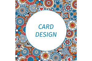 Card design with mandala style flowers