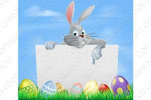 Easter eggs and bunny sign