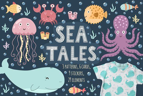 Sea Tales Patterns Stickers Cards