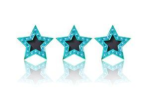 Three gold colour stars set