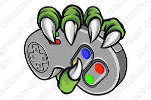 Monster Hand Holding Video Games Controller