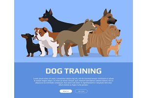 Dog Training Concept Flat Style Vector Web Banner