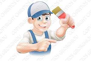 Painter decorator pointing