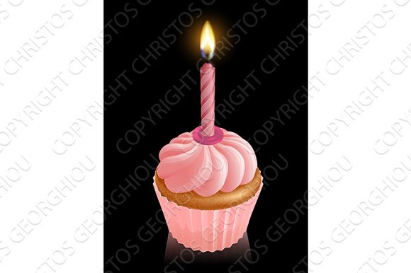Pink Fairy Cake Cupcake With Birthday Candle