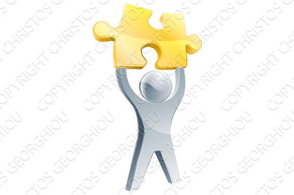 Silver Jigsaw Piece Person Concept