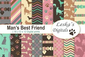 Dog Digital Scrapbook Paper Patterns