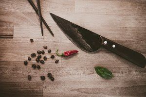 Vintage Cooking Chili, Knife, Coffee