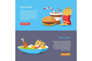 Fast Food Concept Flat Style Vector Web Banners