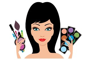 Woman with decorative cosmetics in h