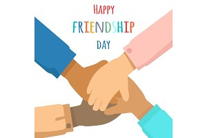 Happy Friendship Day Flat Vector Concept