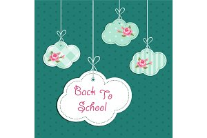 Back to School background with retro fabric clouds on strings and roses in shabby chic style