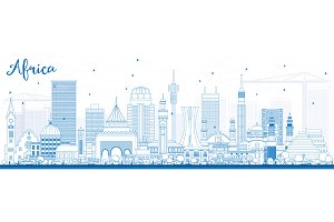 Outline Africa Skyline
