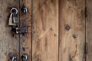 Old Wooden Door with Locks