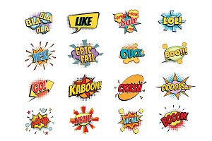 set of colorful comic speech bubbles shape