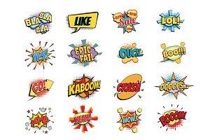 set of colorful comic speech bubbles shape