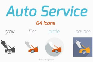 64 Auto Service vector icons set
