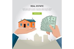 Real Estate Vector Web Banner in Flat Design.