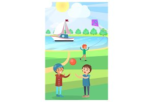Kids Play with Ball in Public Park Vector Poster
