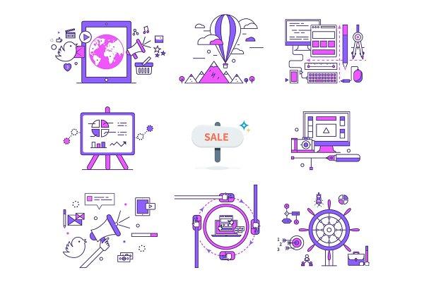 Set of Web Icons Sign Symbols in Fl…