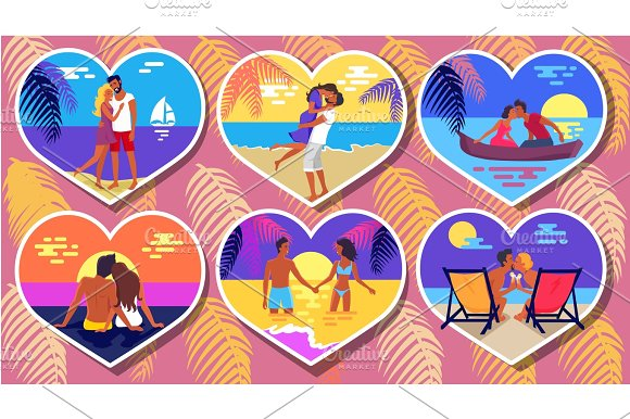 Summer Romance In Heart-Shaped Photos Poster