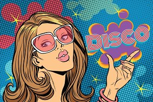 Beautiful woman disco, pop art style