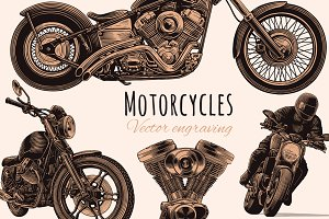 Set Motorcycles. Vector engraving.